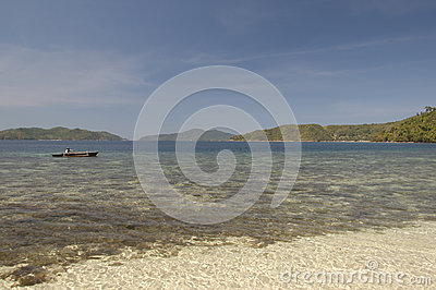 Rocky shore of island. Philippines