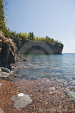 Rocky shoreline along Lake Superior