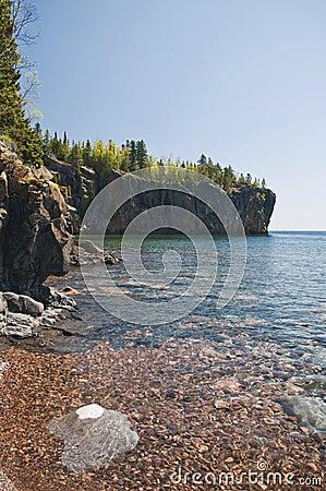 Rocky shoreline along Lake Superior