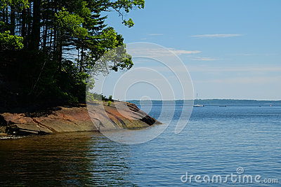 Rocky shoreline and calm cove