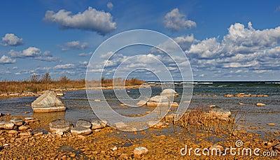 Rocky shoreline of Lake Michigan