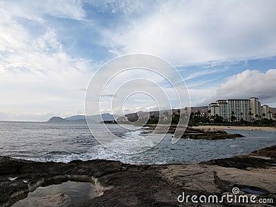 Rocky shoreline next to lagoon at Ko Olina