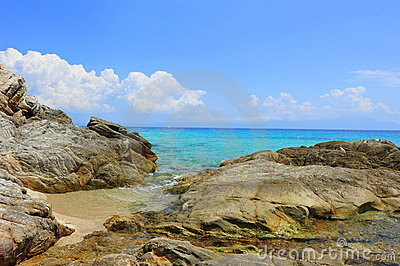 Rocky shores of the Aegean sea