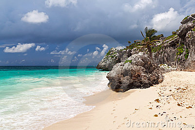 Rocky Tulum beach in Mexico