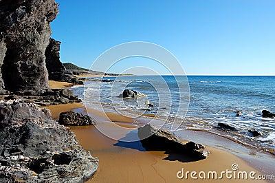 Rocky wild beach in spain