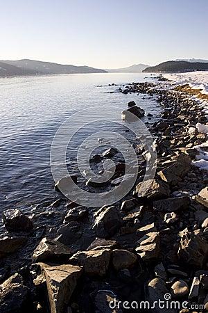 Free Rocky Winter Shoreline On Lake Pend Oreille Idaho Stock Photos - 10799653