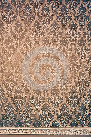 Free Rococo Elements On Brown Vintage Wall Stock Image - 61544941