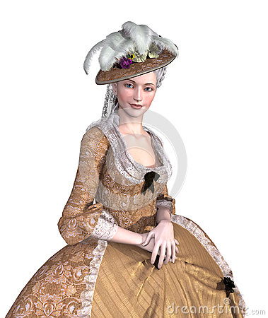Free Rococo Lady Portrait Stock Images - 50267024