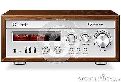 Rocznika amplifikatoru hi fi analogowy Stereo wektor