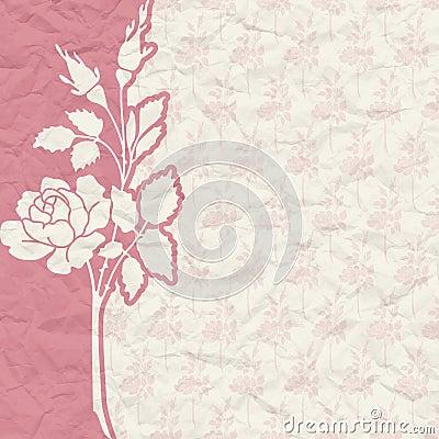 Rocznika tło dla zaproszenia z kwiatami
