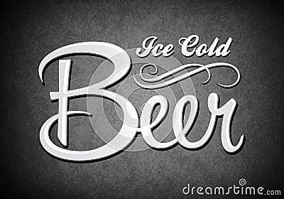 Rocznika znak zimny piwo - lód -