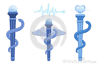 Rod of Asclepius and Caduceus - medical symbol