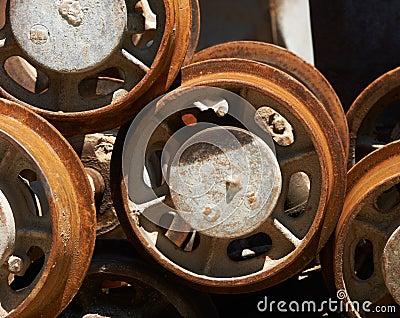Rodas do trole da mina