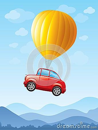 Rode auto die door ballon wordt opgeheven