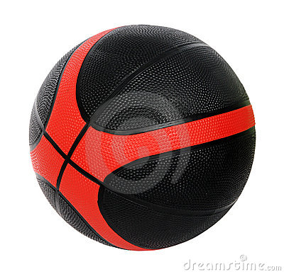 Rode en zwarte basketbalbal