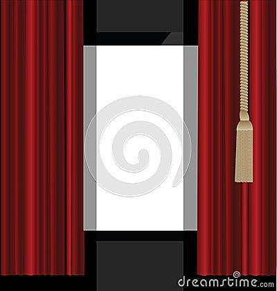 Rode Gordijnen aan het Stadium van het Theater