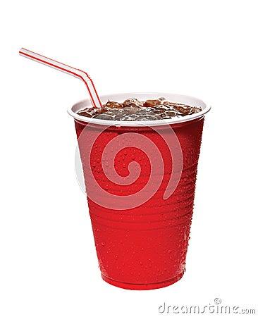 Rode plastic kop van soda