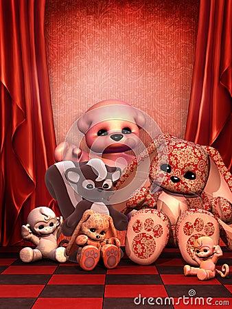 Rode ruimte met speelgoed
