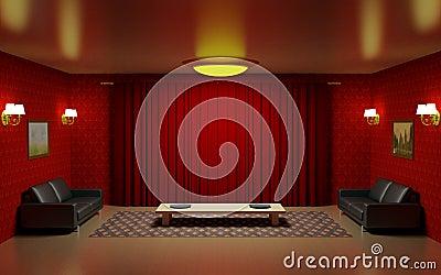 rode woonkamer royaltyvrije stock fotografie  afbeelding, Meubels Ideeën