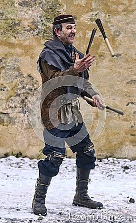 Middeleeuwse Entertainer Redactionele Stock Foto