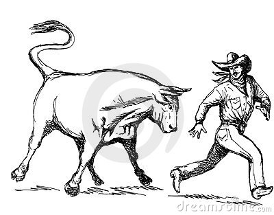 Rodeo cowboy running away