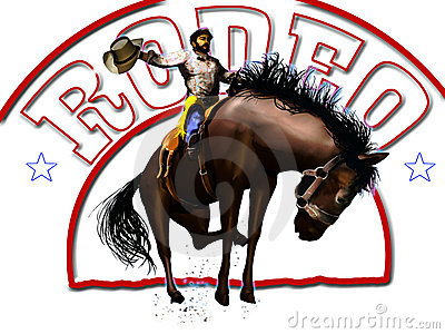 Rodeo cowboy and text
