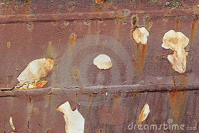 Roestige schil van een schip