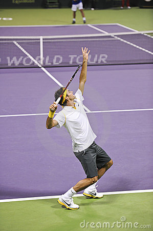 Roger Federer in action Editorial Photo
