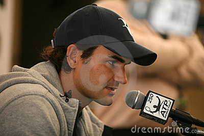 Roger Federer at Doha press conference Editorial Stock Photo