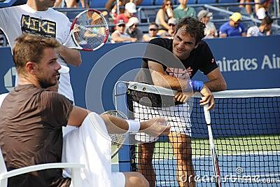 Roger Federer en Stanislas Wawrinka Redactionele Foto