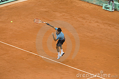 Roger Federer of Switzerland in action at French Editorial Stock Image