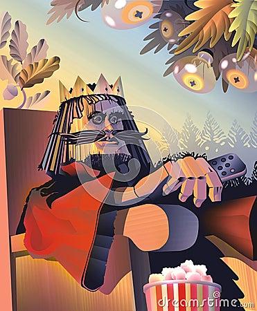Roi des échecs - en bois