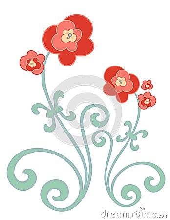 Rojo y flores del oro