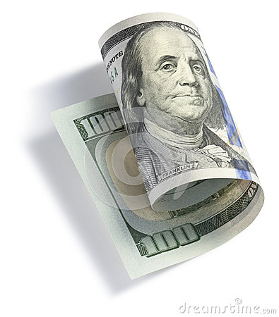 Rolado cem notas de dólar
