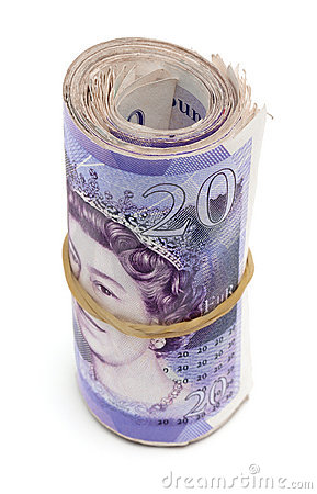 Free Role Of Twenty Pound Notes Royalty Free Stock Photography - 17313207