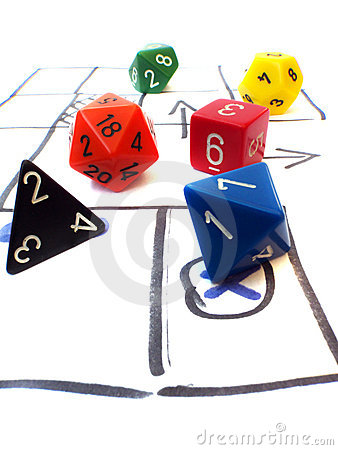 Role playing game dungeons dragons table dice set