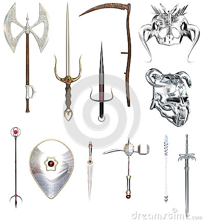 RPG weapons and helmets