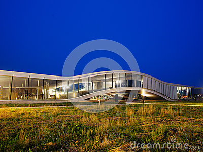 Rolex Learning Center At EPFL After Sunset