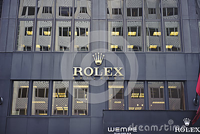 Rolex logo on store wall Editorial Photography