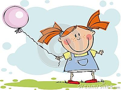 Rolig flicka för ballong