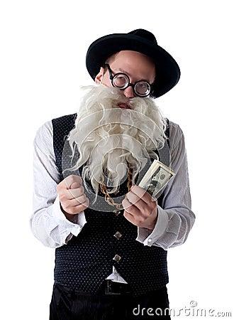 Rolig gammal jude med isolerade sedlar