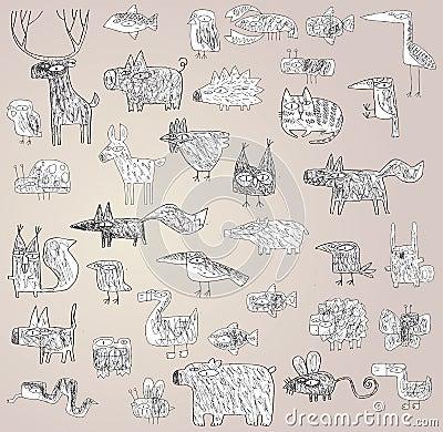 Rolig Grunge klottrad djursamling i svartvitt