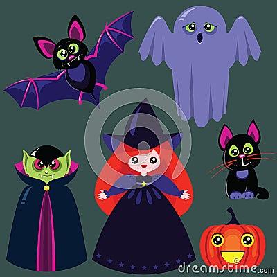 Rolig halloween för tecknad film set