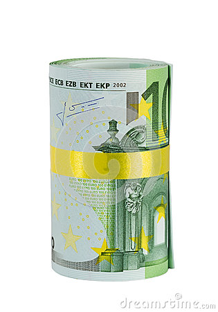 Roll of 100 euro banknotes with yellow ribbon