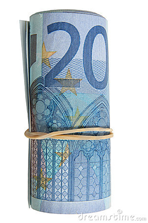 A roll of 20 Euro notes.