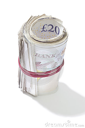 Roll of Cash on White Background