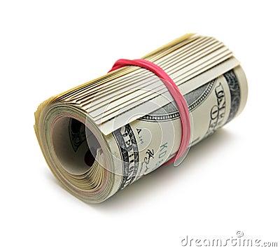 Roll of 100 dollar bill