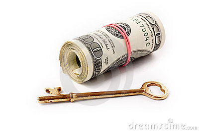 A roll of dollars and key