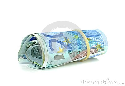 A roll of Euro money banknotes