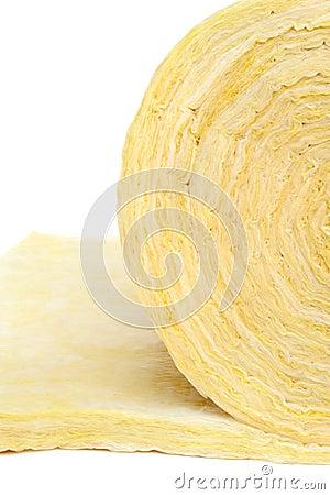 Roll of fiberglass insulation material